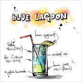 Hand drawn illustration of cocktail BLUE LAGOON