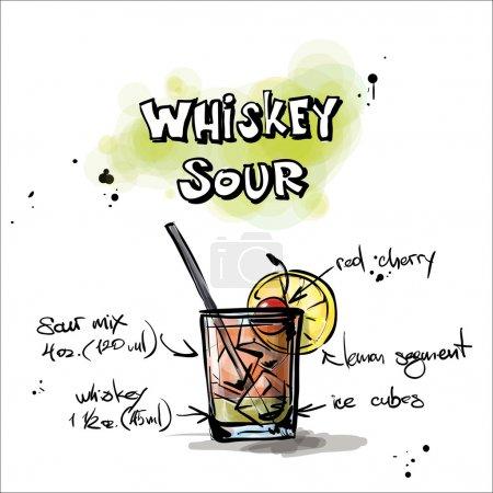 Illustration pour Illustration dessinée à la main du cocktail. Whiskey Sour. Collecte vectorielle . - image libre de droit