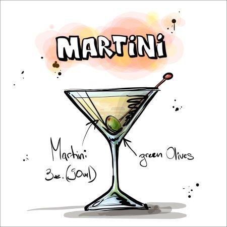 Illustration pour Illustration dessinée à la main du cocktail. Martini. Collecte vectorielle . - image libre de droit
