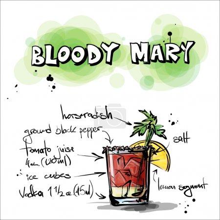 Illustration pour Illustration dessinée à la main du cocktail. BLOODY MARY. Collecte vectorielle . - image libre de droit