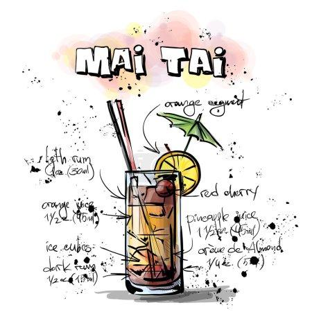 Illustration pour Illustration dessinée à la main du cocktail. AMI TAI. Collecte vectorielle . - image libre de droit