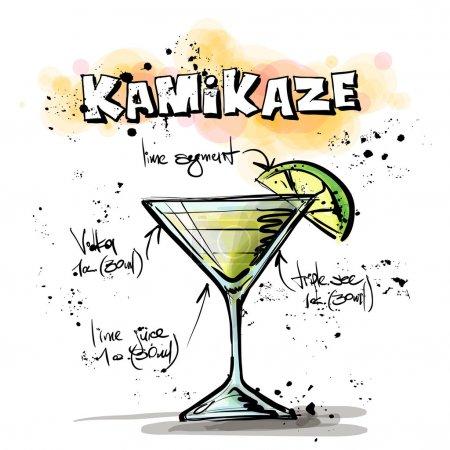 Illustration pour Illustration dessinée à la main du cocktail. KAMIKAZE. Collecte vectorielle . - image libre de droit