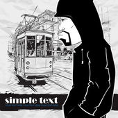 Vector illustration of a graffiti character and old tram