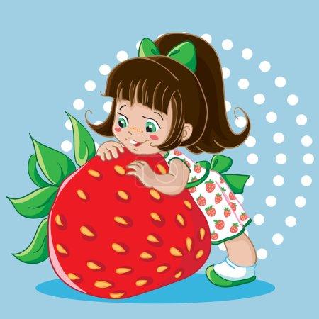 Illustration pour Illustration vectorielle. Pas de gradient. Brunette petite fille et grosse fraise juteuse . - image libre de droit