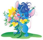 Blue mouse with flowers