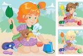 Dívka s hračkami v praku hraje v písku box