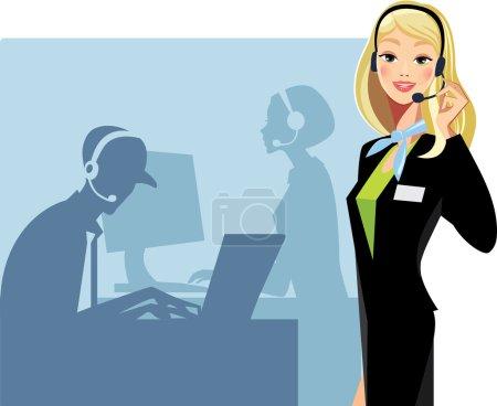 Illustration pour Call center fille - image libre de droit