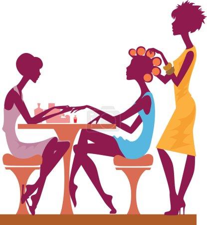 Illustration pour Les femmes dans un salon de beauté obtenir une manucure - image libre de droit