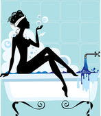 Silhouette of a woman in a bathtub