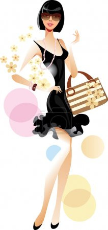 Illustration for Lady in black dress - Royalty Free Image
