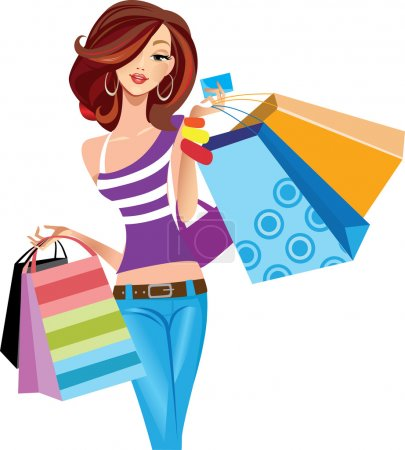 Illustration for Shopping girl - Royalty Free Image