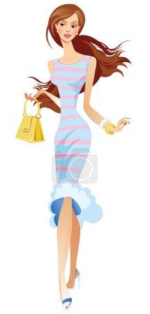 Illustration pour Femme élégante en robe rose bleu abd - image libre de droit