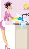 Háziasszony mosogatás