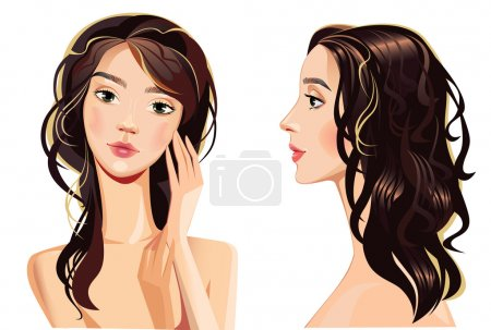 Illustration for Portrait of beautiful woman face. Straight and profile. Vector illustration - Royalty Free Image