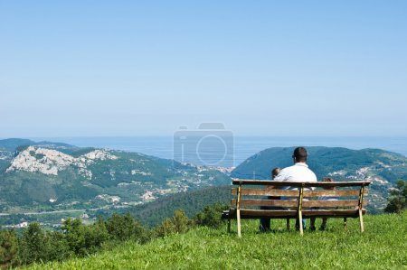 Bench with father and son