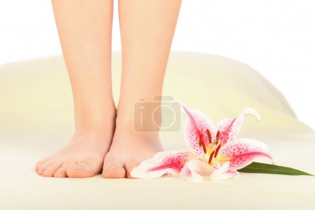 Photo for Beautiful woman legs preparing for feet therapy. - Royalty Free Image