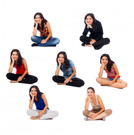Photo for Girl sitting in the same position but with different clothes on - collage. - Royalty Free Image