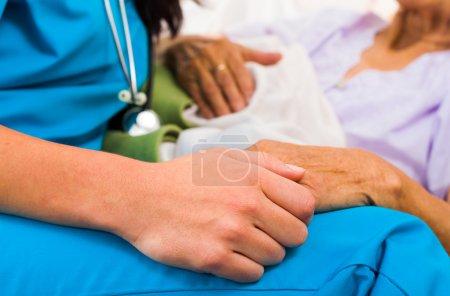 Photo pour Fournisseur de soins sociaux tenant les mains des personnes âgées dans une attitude bienveillante - aider les personnes âgées - image libre de droit