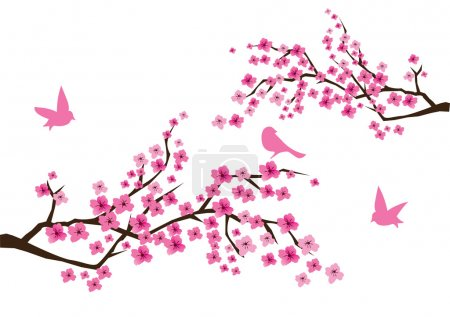 Illustration for Vector cherry blossom with birds - Royalty Free Image