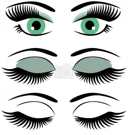 Illustration pour Yeux vectoriels avec maquillage - image libre de droit