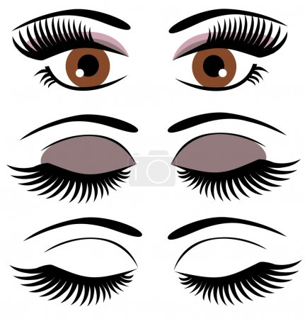 Vector eyes with make up...