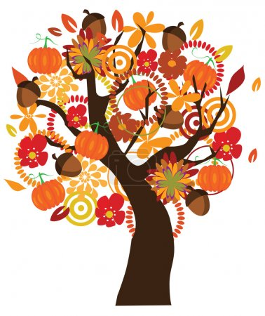 Illustration for Vector tree for Thanksgiving Day - Royalty Free Image
