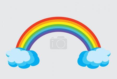 Illustration pour Arc-en-ciel vectoriel avec nuages - image libre de droit