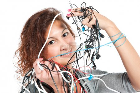 Photo for A young woman with the bunch of wires - Royalty Free Image