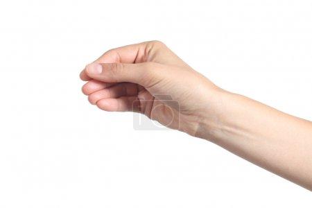 Beautiful woman hand showing something like a blank business