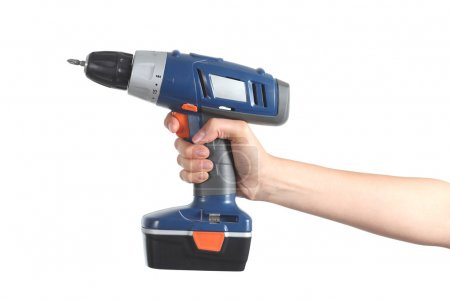 Woman hand holding a battery drill