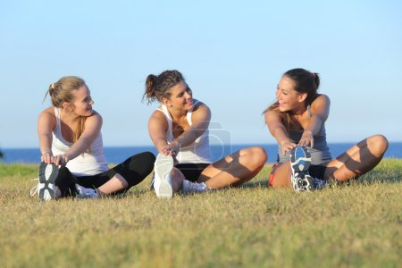 Photo for Group of three women stretching after sport on the grass with the sea in the background - Royalty Free Image