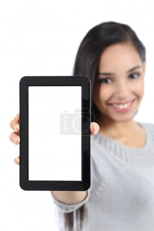 Pretty woman showing a blank vertical tablet screen isolated