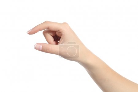 Woman hand holding some like a blank object