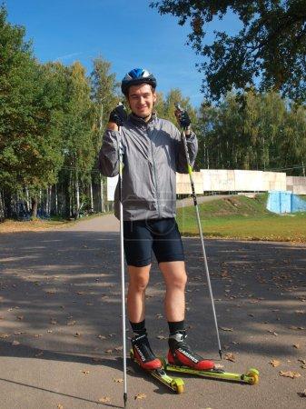 25 years old man skating on rollerski...