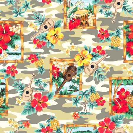 Photo pour J'ai dessiné des hibiscus pour un design que cette peinture continue à plusieurs reprises - image libre de droit