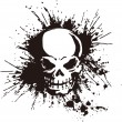 The paint which is scattered on the skull intensel...