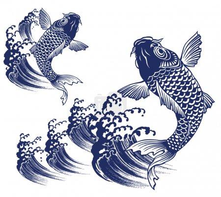 Illustration pour La carpe de la peinture traditionnelle japonaise, j'ai peint une carpe avec un pinceau d'écriture, je l'ai peinte avec la technique traditionnelle japonaise , - image libre de droit
