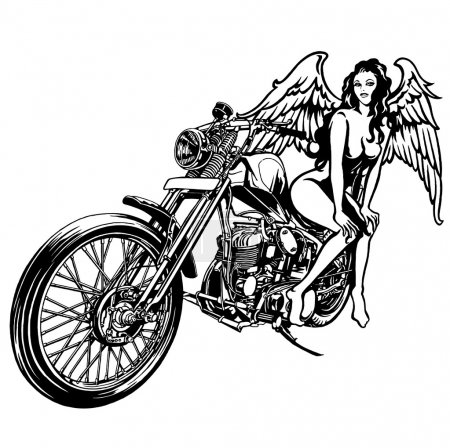 Woman and a motorcycle
