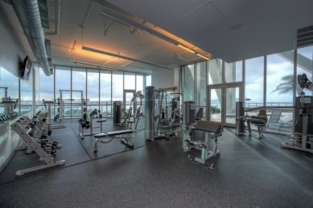 Gym with gorgeous view and equipment