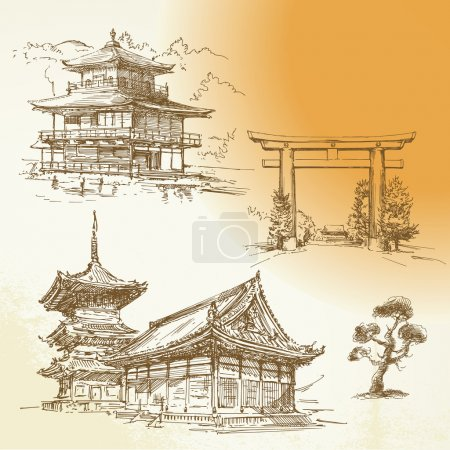 Illustration for Kyoto, Nara, japanese heritage - hand drawn collection - Royalty Free Image