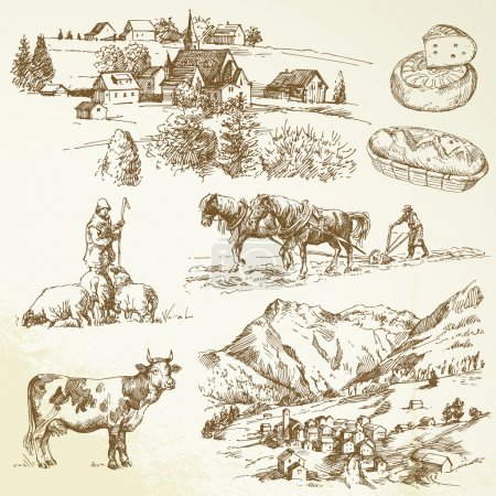 Illustration for Farm, agricultural village - rural landscape - Royalty Free Image