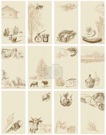 Illustration pour Cartes de visite vintage - collection dessinée à la main - image libre de droit