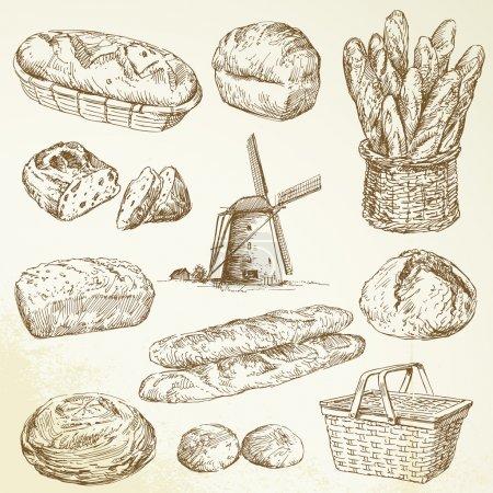 Illustration pour Boulangerie, pain - ensemble dessiné à la main - image libre de droit