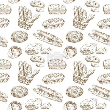 Illustration pour Illustration dessinée à la main - papier peint sans couture boulangerie - image libre de droit