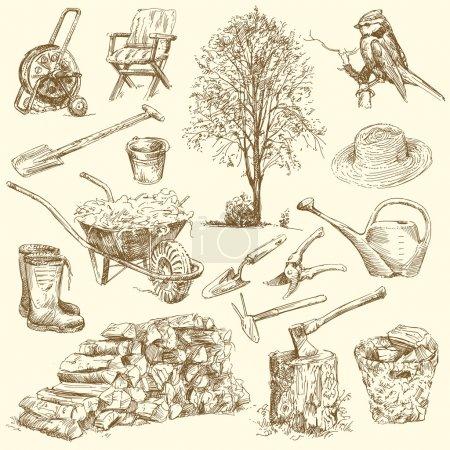 Illustration pour Outils de jardinage - collection dessiné à la main - image libre de droit