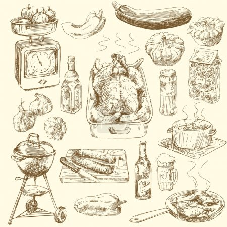 Hand drawn food