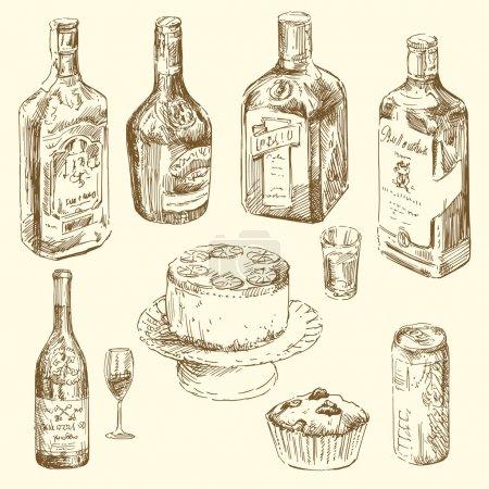 Illustration pour Collection dessinée à la main de différentes boissons - image libre de droit
