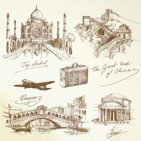 Photo for Over the world travel - hand drawn illustration - Royalty Free Image