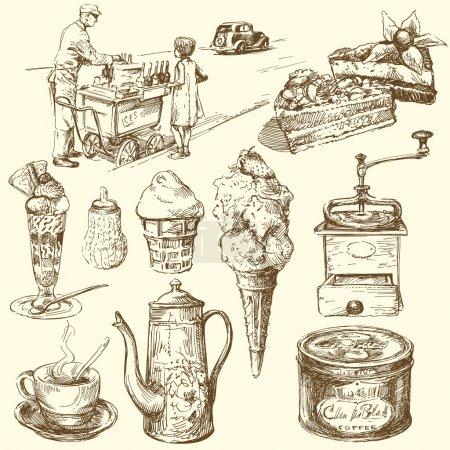 Illustration pour Café, glace, confiserie - collection dessinée à la main - image libre de droit