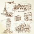 Travel over Europe - hand drawn collection...